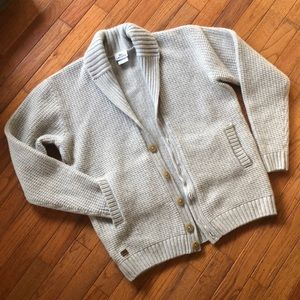 Lacoste waffle knit cardigan wool cashmere grey 6
